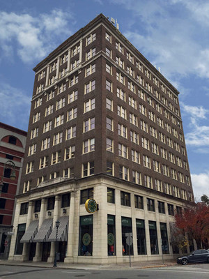 The Realty Building sits 10 stories tall at 24 Drayton Street in downtown Savannah Georgia.
