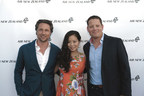 "Kiwi celebrities Martin Henderson and Michelle Ang join Nick Judd, Air New Zealand's Regional General Manager, The Americas, for the airline's red carpet premiere of its newest safety video, ""Safety in Hollywood."""