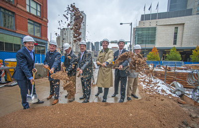 Executives had an official groundbreaking Tuesday for the dual-branded AC Hotel Denver and Le Meridien Denver, located in the heart of downtown Denver. The hotel is scheduled to open in late summer 2017. From left to right: Bruce Etkin, Chairman, Etkin Johnson; Chris Anderson, senior vice president and chief revenue officer for White Lodging; David Johnson, President, Etkin Johnson; Chris Stanley, senior director of development for Starwood Hotels & Resort; Deno Yiankes, president and CEO for White Lodging investments and development division; Steve Poe, CEO, Poe Companies; and Mike Wells,  President, REI Real Estate Services.