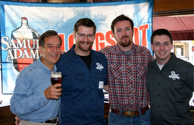 Samuel Adams Founder and Brewer Jim Koch awards recipients of the first-ever Samuel Adams Brewing the American Dream Experienceship; a mentoring program offered exclusively to craft brewer beneficiaries of Samuel Adams Brewing the American Dream. Jim Woods of MateVeza and brewing partners Chris Spinelli and Jon Mervine of Roc Brewing Co. have the opportunity to visit the Samuel Adams Boston Brewery to meet with Samuel Adams employees on a range of brewing and business topics to help grow their breweries.  (PRNewsFoto/Samuel Adams)