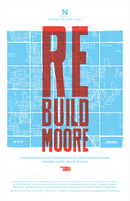 Help #RebuildMoore. All proceeds from the sale of this limited edition letterpress print commissioned by Neenah Paper, and designed by Oklahoma design studio Ghost, will be donated to Architecture for Humanity to help rebuild Moore, Oklahoma. The prints are available now at The Beauty of Letterpress for $10 each. http://thebeautyofletterpress.com/.  (PRNewsFoto/Neenah Paper)