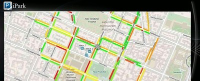 As INRIX's first customer for its On-Street Parking Service, this image shows BMW's concept for how it might integrate and display this information to drivers in their vehicles in iPark mode -- green lines indicate blocks where spaces are available to red colored blocks where there's no spaces available.