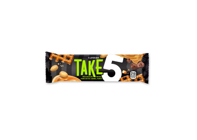 The new TAKE5 Bar wrapper, hitting shelves and online now, includes a textured black background with a bold, green logo co-designed by millennials.