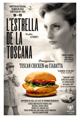To celebrate the new Tuscan Chicken on Ciabatta sandwich, Wendys launched its first-ever digital short film, LEstrella de la Toscana  The Star of Tuscany, starring the new Tuscan Chicken on Ciabatta. Inspired by the sandwichs Italian-inspired ingredients, the film was shot in Italy and features subtitles from real Wendys fans.