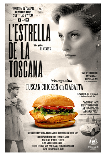 """To celebrate the Italian-inspired Tuscan Chicken on Ciabatta, Wendy's is releasing a short film """"L'Estrella de la Toscana"""" - Star of Tuscany - where fans will have the chance to taste the sandwich and submit captions to potentially be featured in the film.  (PRNewsFoto/The Wendy's Company)"""