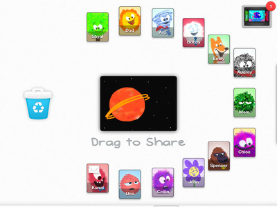 With Drawp iPad app, simply pinch the canvas and swipe the drawing to share with anyone in the parent-approved network.