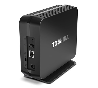 Toshiba's Canvio Personal Cloud is an easy-to-use storage hub that allows users to save their extensive media libraries securely in their own homes, with the added benefit of being able to access and stream files remotely via the cloud.  (PRNewsFoto/Toshiba America Information Systems, Inc.)