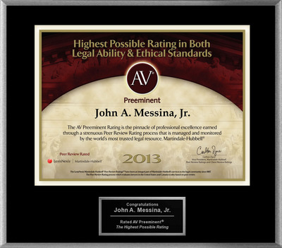 Attorney John A. Messina, Jr. has Achieved the AV Preeminent(R) Rating - the Highest Possible Rating from Martindale-Hubbell(R).  (PRNewsFoto/American Registry)