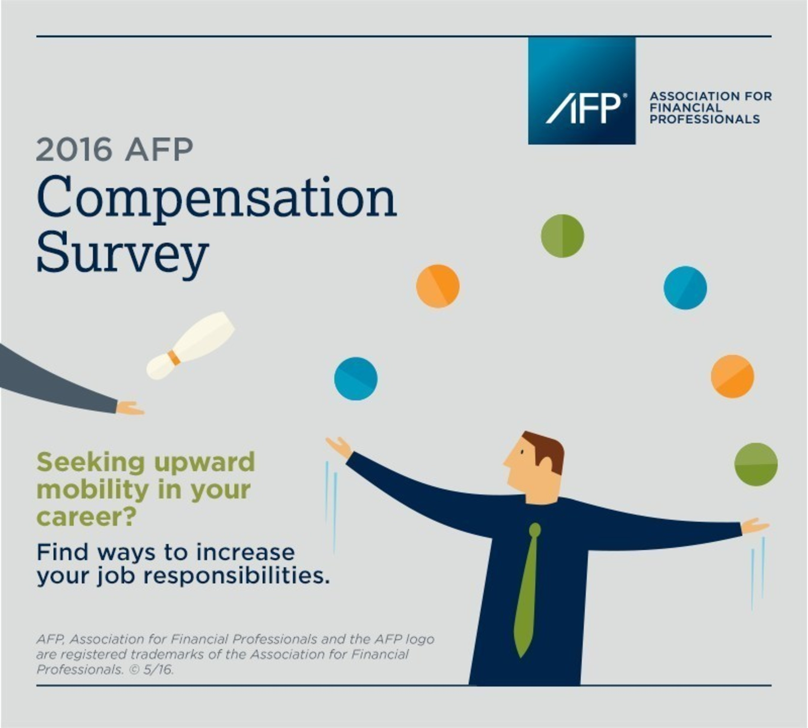 2016 AFP Compensation Survey found raises increased slightly less than in the prior year, and that finance professionals must develop critical leadership skills to be successful in their careers. Full results are available at http://www.afponline.org/CompReport/.