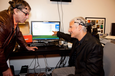 RHYTHM CENTRAL: Mickey Hart and Dr. Adam Gazzaley Make History Through Visualizing and Sonifying Brain Activity in Real Time for Live Audience.  (PRNewsFoto/Mickey Hart, Adam Gazzaley, M.D.)