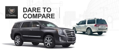 The 2015 Cadillac Escalade uses its powerful engine and redesigned interior to keep its spot ahead of the 2014 Lincoln Navigator. (PRNewsFoto/Cavender Cadillac)