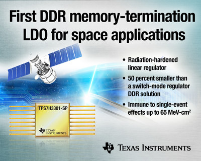 TI launches the first DDR memory-termination linear regulator for space applications