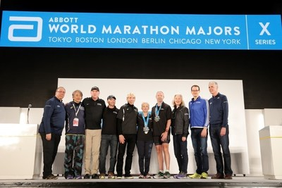 David Mark of Chicago, Illinois, and Barbara Fleming-Ovens of Cranfield, Ireland, are pictured (left to right) with Nick Bitel, Chief Executive, London Marathon; Tad Hayano, Race Director, Tokyo Marathon; Carey Pinkowski, Executive Race Director, Bank of America Chicago Marathon; Tim Hadzima, General Manager of the Abbott World Marathon Majors (AbbottWMM); Peter Ciaccia, New York Road Runners President of Events and Race Director of the TCS New York City Marathon; Elaine Leavenworth, Senior Vice President, Chief Marketing and External Affairs Officer at Abbott; Mark Milde, Race Director, BMW Berlin Marathon; and Tom Grilk, Executive Director, Boston Athletic Association, at the conclusion of the 2016 Tokyo Marathon (February 28, 2016).  Mark and Fleming-Ovens were recognized as AbbottWMM Six Star Finishers for completing all six AbbottWMM races -- Tokyo Marathon, Boston Marathon, Virgin Money London Marathon, BMW BERLIN-MARATHON, Bank of America Chicago Marathon and TCS New York City Marathon.  Since the inception of the AbbottWMM in 2006, nearly 600 individuals have completed all six races.