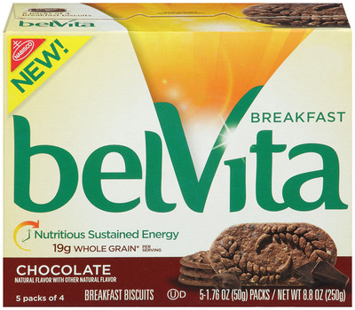 belVita Breakfast Biscuit, Chocolate variety .  (PRNewsFoto/Mondelez Global LLC)