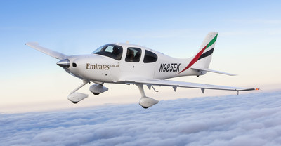 The Cirrus SR22, chosen by the Emirates Flight Training Academy, shown with Emirates airline livery.