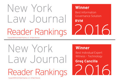 RVM named Best Information Governance Solutions Provider and Greg Cancilla, Best Expert Witness in Technology  by New York Law Journal.