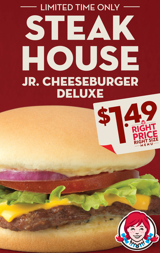 Wendy's is serving steakhouse taste without the steakhouse price: Introducing the new Steakhouse Jr. Cheeseburger Deluxe, available on the Right Price Right Size menu for a recommended price of $1.49. The Steakhouse Jr. Cheeseburger Deluxe, available for a limited-time, boasts a fresh, never frozen beef hamburger patty seasoned with savory steak seasoning, melty cheese and a creamy garlic aioli sauce made with roasted garlic, onion and Dijon mustard. (PRNewsFoto/The Wendy's Company)