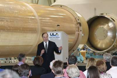 "Decatur, Ala. (March. 24, 2012) -- U.S. Sen. Richard Shelby (R-AL) discusses important issues facing Alabama and the nation during his visit to the United Launch Alliance (ULA) production facility in Decatur, Ala., where ULA manufactures both Atlas and Delta launch vehicles. Sen. Shelby said the ULA facility ""is the epitome of what we can do with math, science and engineering. ULA's work here is good for the nation and good for Alabama."" ULA launches critical space capabilities for the Department of Defense, NASA, the National Reconnaissance Office and other commercial customers. United Launch Alliance Photo by Jonathan Moral.  (PRNewsFoto/United Launch Alliance)"