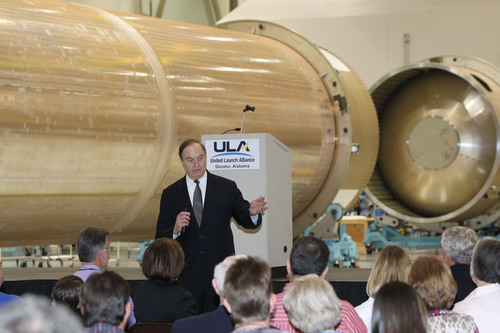 "Decatur, Ala. (March. 24, 2012) -- U.S. Sen. Richard Shelby (R-AL) discusses important issues facing Alabama and the nation during his visit to the United Launch Alliance (ULA) production facility in Decatur, Ala., where ULA manufactures both Atlas and Delta launch vehicles. Sen. Shelby said the ULA facility ""is the epitome of what we can do with math, science and engineering. ULA's work here is good for the nation and good for Alabama."" ULA launches critical space capabilities for the Department of Defense, NASA, the National ..."