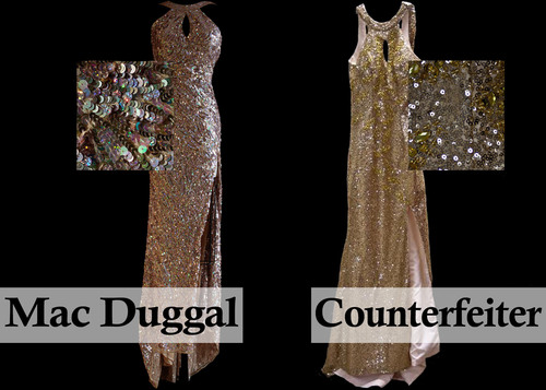 Side by side comparison of a Mac Duggal original design and a poorly made, badly fitted counterfeit copy. Sold as a Mac Duggal dress, the counterfeit copy barely zipped up and severely bunched at the hips for a very unflattering look.  (PRNewsFoto/Mac Duggal, LLC)