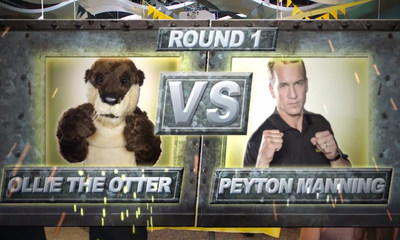 Former quarterback, Peyton Manning goes head to head with former spokesperson Ollie the Otter in a series of ads airing on ESPN Sept. 16 through Oct. 31