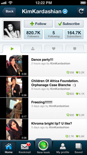 Example of a Verified Keek Account - Kim Kardashian.  (PRNewsFoto/Keek)