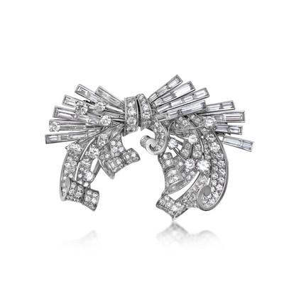 A Diamond Double Clip Brooch, by Trabert Hoeffer Mauboussin