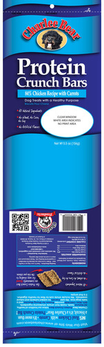 Product packaging for recalled Charlee Bear Protein Crunch Bars. Lot number is located below the UPC code.  ...