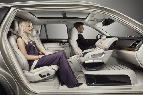 The Excellence Child Seat Concept enables the child to travel rear faced and to keep eye-contact with either ...