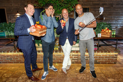 Bobby Flay, Adrian Grenier, Tom Colicchio and Common snap a fruit and veggie selfie at Naked Juice's #DrinkGoodDoGood campaign launch event in Manhattan. For every selfie shared using the campaign hashtag, Naked Juice will donate 10 pounds of produce to communities in need.