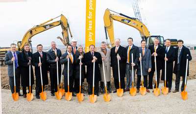Governor Gary Herbert, center, joins Vivint Solar CEO Greg Butterfield and executive team to break ground on new corporate headquarters in Lehi, Utah