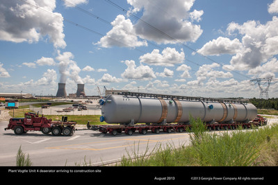 The Vogtle Unit 4 deaerator arrives at the project site near Waynesboro, Ga.  (PRNewsFoto/Georgia Power)