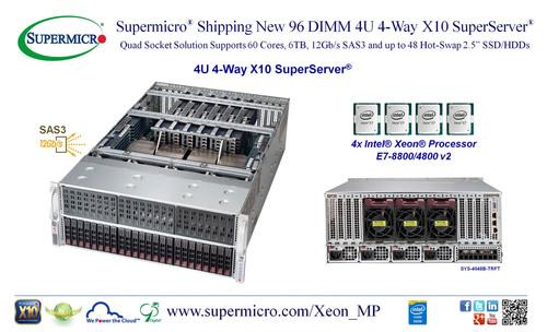 Supermicro(R) 96 DIMM 4U 4-Way SuperServer(R) Featuring Intel(R) Xeon(R) E7-8800/4800 v2.  (PRNewsFoto/Super ...