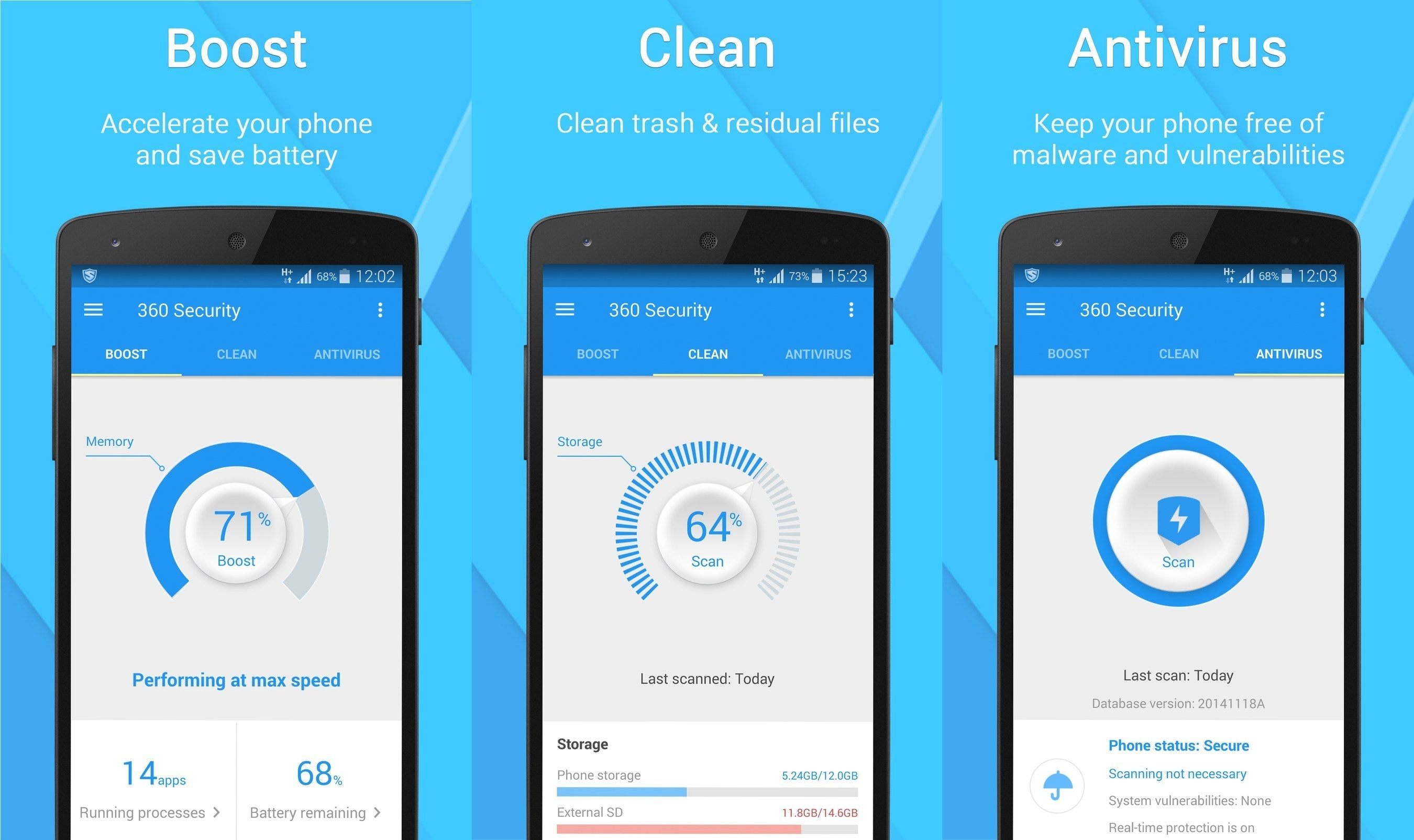 Boost your smartphone's speed, clean junk files, fend off viruses, and more with 360 Security.