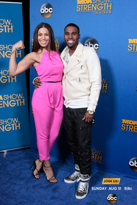 "Pop star sweethearts Jordin Sparks and Jason Derulo ""show their strength"" for families affected by muscle disease on the blue carpet of the 2014 MDA Show of Strength Telethon, airing Sunday, Aug. 31 9
