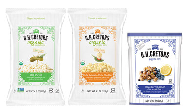 New G.H. Cretors Popped Corn flavors include Organic Dill Pickle, Organic Chile Jalapeno White Cheddar and Blueberry Lemon.