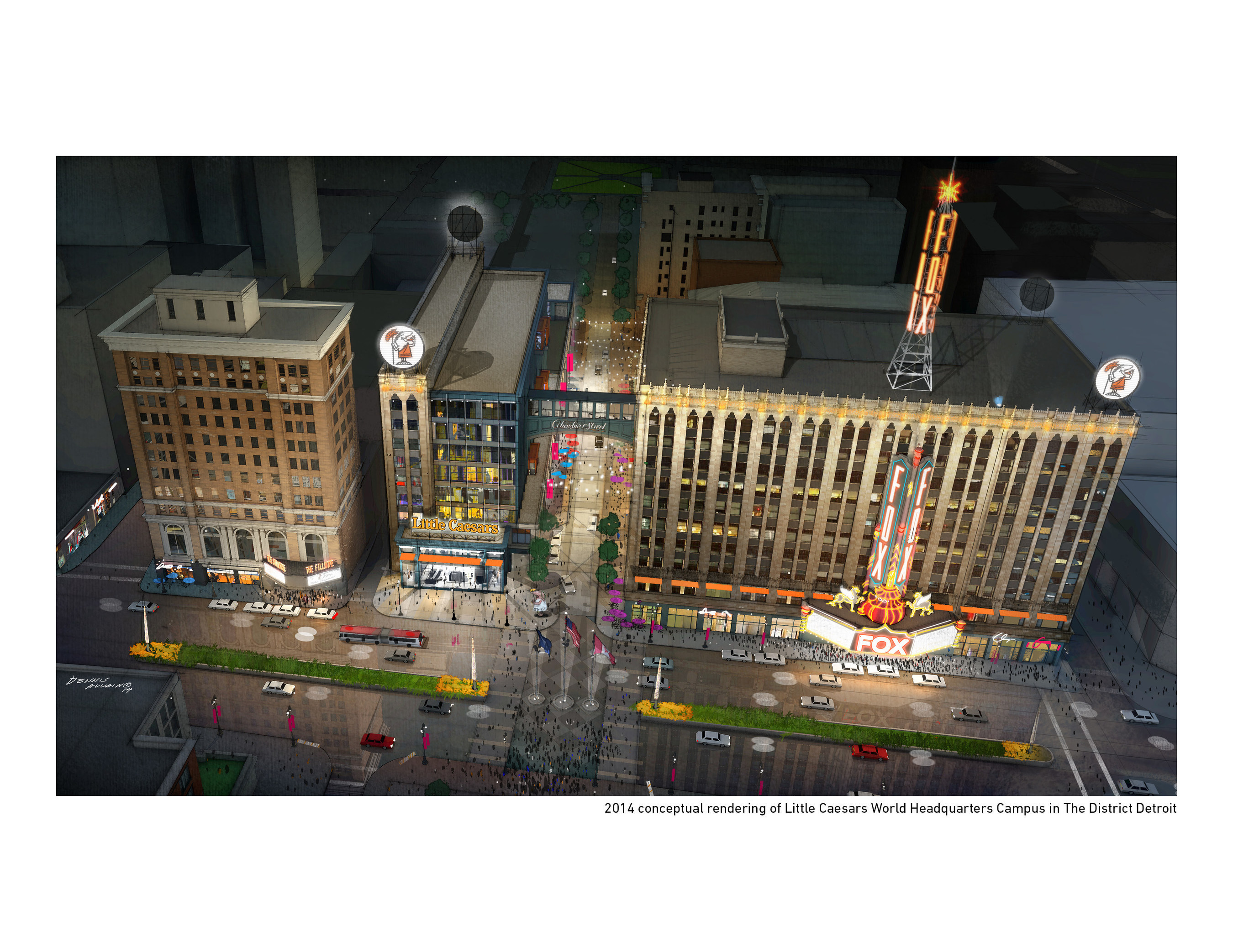2014 conceptual rendering of Little Caesars World Headquarters Campus in The District Detroit
