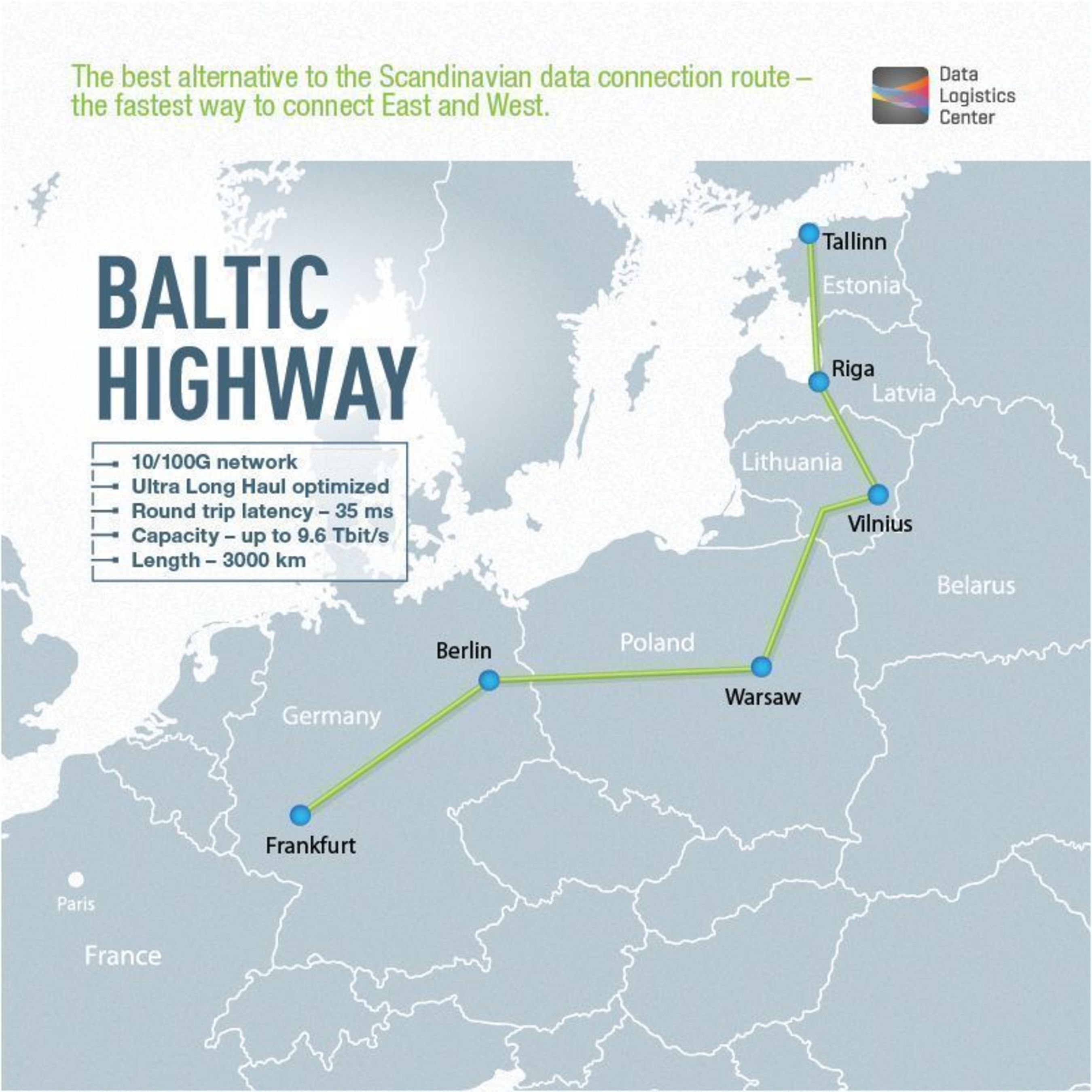 """Baltic Highway âeuro"""" the fastest way to connect East and West (PRNewsFoto/Data Logistics Center)"""
