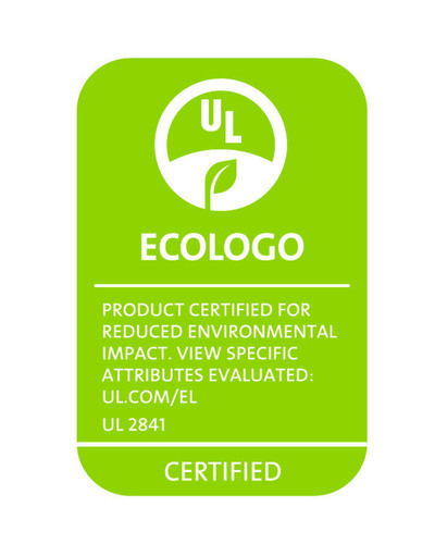 Example of ECOLOGO certification mark for tablets certified to UL 2841 standard. (PRNewsFoto/UL Environment) ...