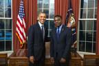 United States President Barack Obama and Equatorial Guinea Ambassador to the United States Miguel Ntutumu Evuna Andeme.