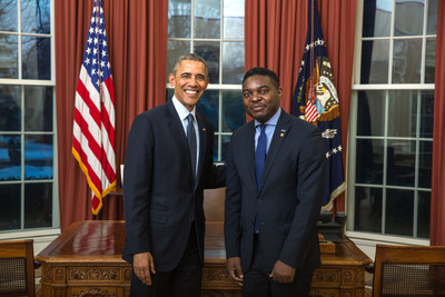United States President Barack Obama and Equatorial Guinea Ambassador to the United States Miguel Ntutumu Evuna Andeme.