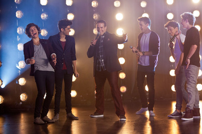 "NFL Quarterback Drew Brees and One Direction on set for Pepsi's new commercial, ""Showdown,"" in New Orleans, LA."