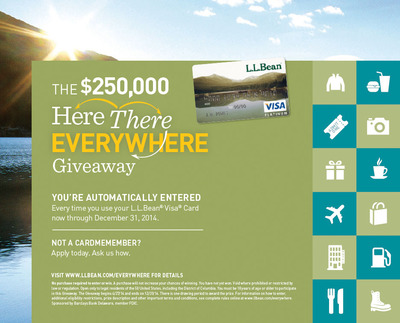 Here There EVERYWHERE Giveaway - Rewarding L.L.Bean Visa Cardmembers with the Chance to Win $250,000 (PRNewsFoto/Barclaycard US)