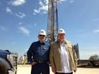 Dr. Kent Moors (left) & Jack W. Nichols (right) inspect the $45MM project's first well (PRNewsFoto/Progressive Equities, LLC)