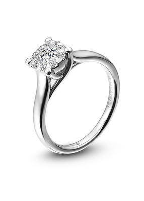 Platinum engagement ring with solitaire diamond by Memoire, starting from $4,000 (including .50 carat center diamond). (PRNewsFoto/Platinum Guild International USA, PGI)