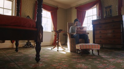 "Lin-Manuel Miranda, writing in Aaron Burr's bedroom at The Morris-Jumel Mansion in Washington Heights, NYC, in a scene from ""Hamilton's America"" (photo: RadicalMedia)."
