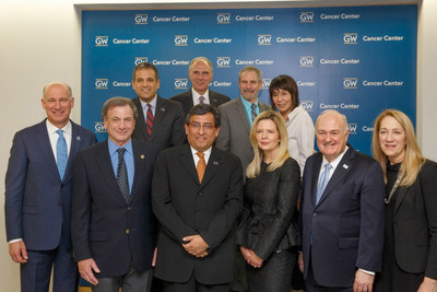George Washington University leaders and cancer research advocates celebrate the official opening of the GW Cancer Center Wednesday. The GWCC will focus on interdisciplinary research and patient care. (courtesy: Logan Werlinger/GW)