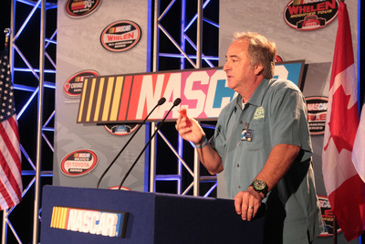 Green Earth Technologies President Jeffrey Loch explains to NASCAR Track Operators how just one 1.5oz G-CLEAN dissolvable detergent pouch equals an 8 pound gallon jug of concentrated detergent.  (PRNewsFoto/Green Earth Technologies, Inc.)