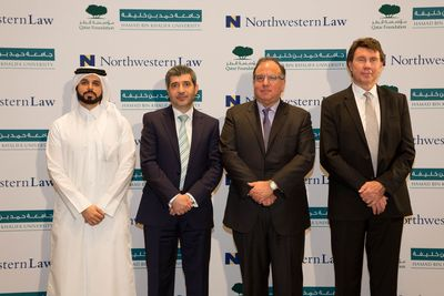 Participants at launch of HBKU's new JD law program (L-R) Khalid Al Kuwari, Deputy General Counsel, Qatar Foundation; Dr. Ahmed Hasnah, Executive Vice President and Provost of HBKU; Daniel Rodriguez, Dean of Northwestern University School of Law; Prof. Clinton Francis, Founding Dean of HBKU Law School.
