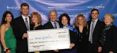 Sartori CEO Jim Sartori and his wife, Jan, along with Mason and Molly Crosby present Make-A-Wish Wisconsin a check for $43,500.